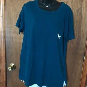 PINK Victoria's Secret Teal Pocket T-Shirt